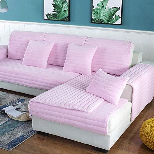 Thicken - Funda de sofá de Felpa, Color sólido, Antideslizante, para sofá, Funda de sofá con Todo Incluido, Protector Simple para Muebles, Color Rosa de Invierno, 70x180 cm (28x71 Pulgadas)