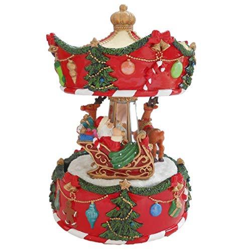 Lightahead 6 inch Santa on Sledge with Reindeer Musical Revolving Carousel Figurine Christmas Music Box in Polyresin