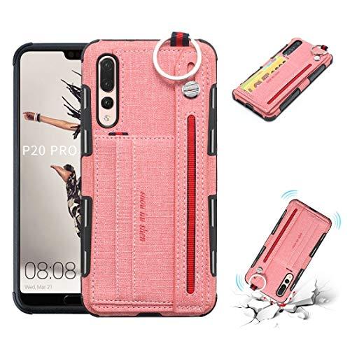 LISUONG MCDC AYCD para Huawei P20 Pro Trail TETETURE + TPU Funda Protectora a Prueba de Golpes con Anillo de Metal y Soporte y tragamonedas y Correa Colgante (Negro) (Color : Pink)