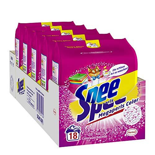 Spee, Megaperls Color 3+1, Colorwaschmittel, 90 (5 x 18) Waschladungen, Reinheit, Strahlkraft und Frische für deine Buntwäsche - zum schlauen Preis