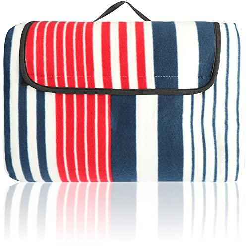 Robin Goods® Picknickdecke XXL - Riesige Campingdecke mit Streifen-Muster - Stranddecke mit Feuchtigkeitsschutz und Wärmeisolierung - 200 x 220 cm