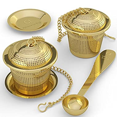 Apace Loose Leaf Tea Infuser (Set of 2) with Tea Scoop and Drip Tray - Ultra Fine Stainless Steel Strainer & Steeper