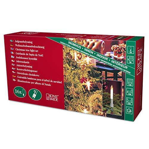 Konstsmide 1127-000 Baumkette mit Schaftkerzen /  für Innen (IP20) /  230V Innen / teilbarer Stecker / 16 klare Birnen / grünes Kabel