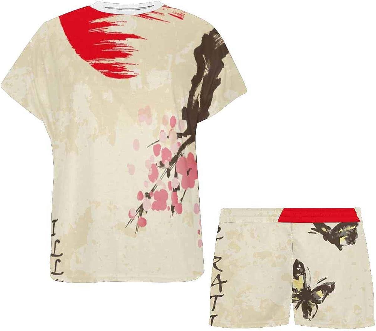 InterestPrint Spring Cherry Blossom with Butterflies Women's Lightweight Pajama Set, Short Summer Pjs