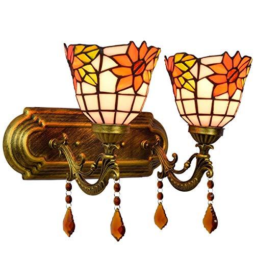 AWCVB Mesa De Noche Minimalista Británica Mesa De Noche Doble Cristal Lámpara De Pared De Cristal Manchado Girasol Moderno Decoración De Jardín