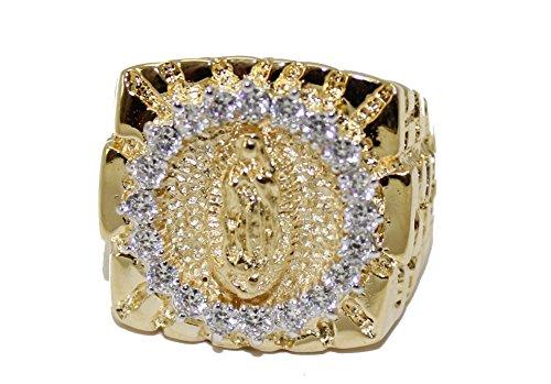 Virgen de Guadalupe Morenita de dos tonos dorado con circonitas cúbicas 18K chapado en oro anillo tamaño 11
