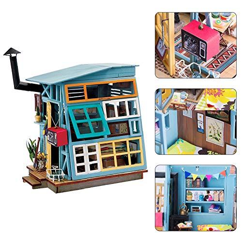 Salinr DIY木製ドールハウス、メゾネットタイプ、手作りキットセット モデルコレクション ひとり暮らし ミニ家具工芸品キット 和風 手作り 工芸品 誕生日 付属LEDライト プレゼント ギフト 贈り物 可愛い