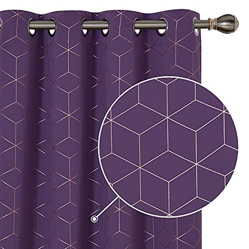 Deconovo Sonnenschutz Gardinen mit Ösen, Thermo Vorhänge für Wohnzimmer, Blackout Vorhang mit Muster, 229x140 cm(HöhexBreite), Dunkelviolett, 2er Set