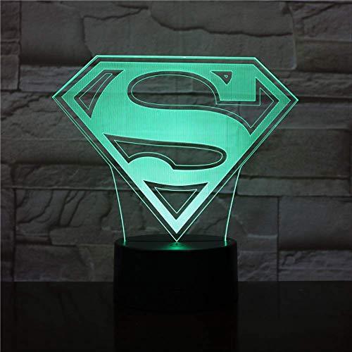 Superman S Logo 3D Lámpara conpilas Multicolor con control remoto para interior Decorativo Led Lámpara de luz nocturna