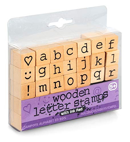 Tobar Hölzerne Buchstabenstempel mit Buchstaben von A bis Z und Sonderzeichen, 31 Stempel, zum Gestalten von Briefen, und Karten, ab 5 Jahren, ca. 1,5 cm