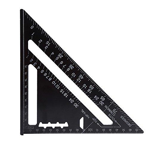 Dreieck Lineal 7 Zoll Metrisch/Imperial System Aluminiumlegierung Schwarz Oxidation Überdachung Dreieck Winkel Winkelmesser Layout Guide Maß Lineal Werkzeug(Metric System)