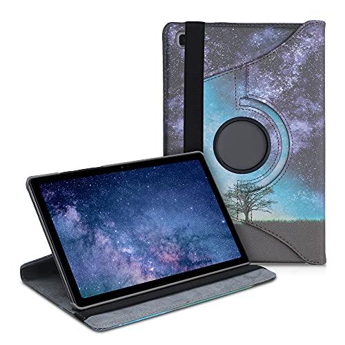 kwmobile Funda Compatible con Samsung Galaxy Tab A7 10.4 (2020) - Carcasa de Cuero sintético para Tablet árbol y Estrellas Azul/Gris/Negro