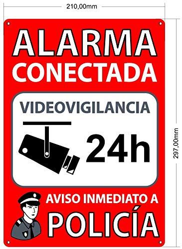Cartel Disuasorio para Interior/Exterior, Placa Disuasoria de PVC Flexible, Cartel Alarma Conectada, 30x21 cm Rojo