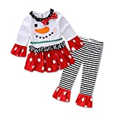 GorNorriss Christmas Outfit Set Baby Girls Snowman T-Shirt Striped Pants Outfits Set