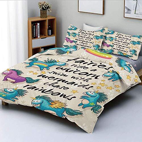 Juego de funda nórdica, Unicornios con estrellas y Rainbow Legendary Creature Kids Decor Cartoon Print DecorativeDecorative Juego de cama de 3 piezas con 2 fundas de almohada, Beige Teal Blue, Best Gi