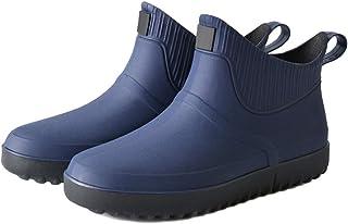 Wefwef Chelsea Wellington Bootsmen Caoutchouc Bleu Foncé Chaussures de Pluie Glissement Imperméable à Talon Bas Tube Pvc B...