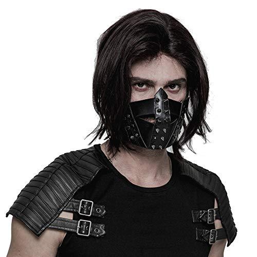 Punk Rave - Máscara de piel sintética para hombre, estilo gótico, punk,...