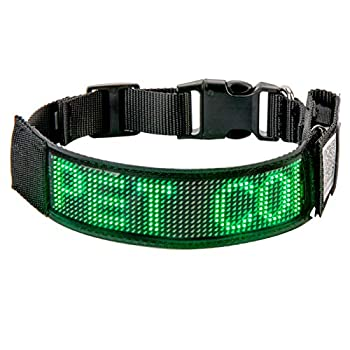 Leadleds Bluetooth LED Dog Collar Flashing Light Up Rechargeable Pet Dog Safety Collar Glow in The Dark Light-up Neck Loop - Green LED