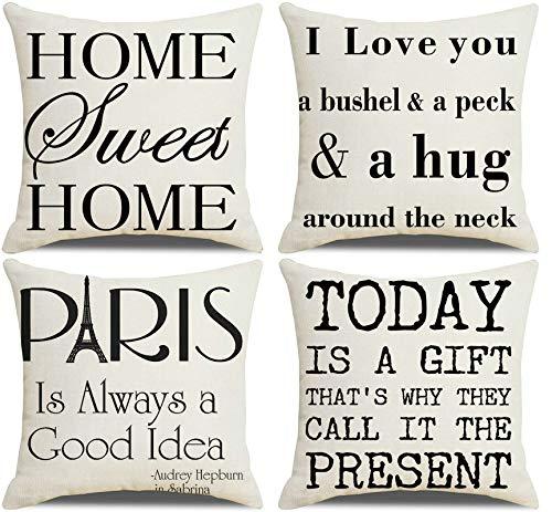 Amody Set di 4 Federe Guanciali Decorative, Copricuscini 45x45cm Home Sweet Home I Love You. Decorativo Caso Federa per Cuscino Divano Letto Auto Set 2