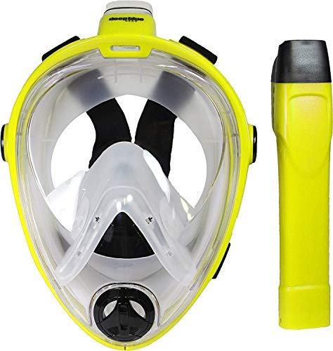 Deep Blue Gear - Vista Vue Full Face Snorkeling Mask, Yellow/Clear Silicone, Large/X-Large