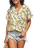 Eledobby Camisas de Verano Vintage para Mujer Tops de Manga Corta Blusa Elegante para Mujer Boho Cuello en V Lounge Wear Top Estampado Floral Ropa Casual Amarillo L