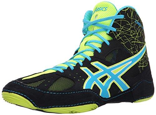 ASICS Men's Cael V6.0 Wrestling Shoe, Black/Atomic Blue/Flash Yellow, 13 M US