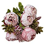 Qinday 1 Bouquet Vintage Artificial Peony Silk Flowers Bouquet for Home Wedding Decoration Indoor Outside Hanging Planter UV Resistant Home Office Garden Wedding Sidewalk Trim Decor