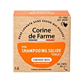 Corine de Farme | Shampoing Solide Cheveux Secs | Vegan - Formule Huile De Coco Hydratante | Shampoing Biodégradable Zero Déchet | Eco-conçu Et Fabriqué en France