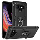 Galaxy Note 9 Case Military Grade Drop Impact Tested Armor 360 Metal Rotating Ring Kickstand Holder Built-in Car Mount Silicone TPU Shockproof Anti-Scratch Full Body Protective Cover for Note 9(Black)