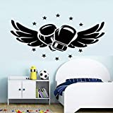 zqyjhkou Flying Boxing Gloves Vinyl Wall Stickers for Kids Rooms Bedroom Box Hall Fitness Club Boys Room Decoration Accessories wall55.9X27.3CM