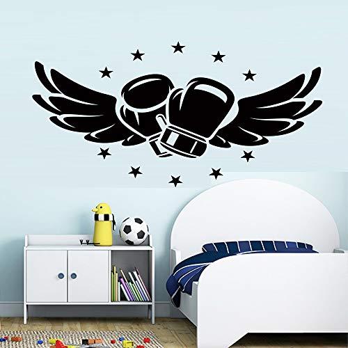 Guantes de boxeo voladores, pegatinas de pared para habitaciones de niños, caja de dormitorio, salón, club de fitness, decoración de habitación para niños, papel tapiz A3 86x43cm