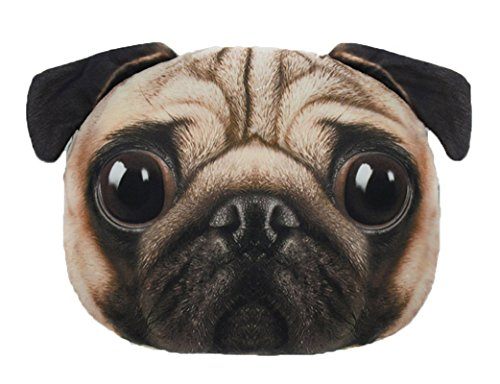 LFZ Pug Dog Shape Decorative Cushion Pillow for Indoor Sofa Chair Bed or Outdoor Beach Chair Car Travelling Vacation 15 inches