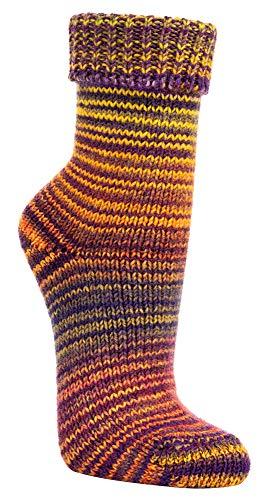TippTexx24 2 Paar w&erschöne, warme, kuschelige Wollsocken im Skandinavien-Style mit Umschlag mit zusätzlicher Garantie (39/42, Gelb-Lila)