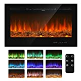 GARTIO 36'' Recessed 1500W Electric Fireplace, Low Noise Wall-Mounted Heater, W/Log&Crystal, Remote Controller&Touch Screen for Adjustable Time and Flame in 9 Color&5 Speed, Fit for 2x4&2x6 Stud