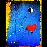 ThinkingPower Lienzo Cuadro Bailarines corazón Amor Arte Pintura Joan Miro Abstracto Famoso Cuadro de Pared decoración del hogar Cartel 60x90cm