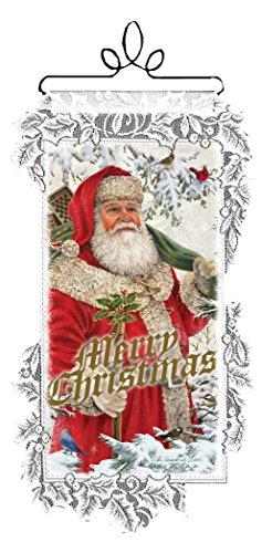 Heritage Dentelle de Noël Décoration Murale Woodland Père Noël à Suspendre au Mur, 12 par 53,3 cm, Blanc