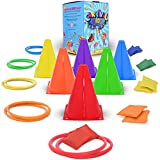 C2K - Carnival Games - Ring Toss - Party Games for Kids - Bean Bag Toss Game for Kids - Ring Toss Game - Kids Party Games Outdoor - Indoor Obstacle Course for Kids - Ring Toss Games for Kids