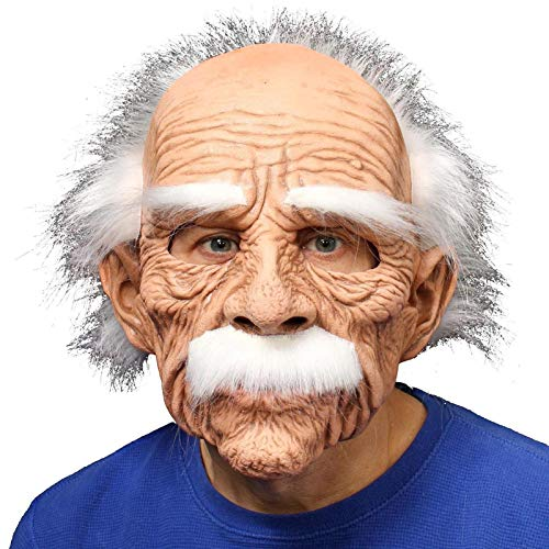Dewdropy Grand Dad Full Mask with White Hair Eyebrows & Mustache, Halloween Creepy Face Mask Super Soft Latex Grandpa Mask, One Size fits Most