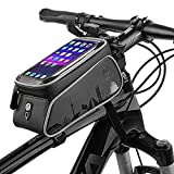 Bike Frame Bag, Cycling Frame Pannier Mobile Phone Holde, Waterproof Resistant Cycling Front Tube Frame Pannier Mountain MTB City Road Bicycle Crossbar Bag Pouch Holder für Smartphone,Black