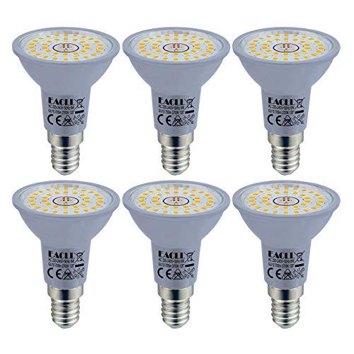 EACLL E14 LED 2700K Warmweiss 6W Leuchtmittel 705 Lumen Birnen kann Ersetzen 60W Halogen Glühbirnen. AC 230V Kein Strobe Energiesparlampe, Abstrahlwinkel 120 ° Strahler, R50 Reflektor Lampen, 6 Pack