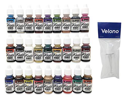 Jacquard Pinata Color Alcohol Ink 28-Piece Bundle, 27x Jacquard 0.5oz Alcohol Ink Colors, 1x Velono Clear 2oz Spray Bottle