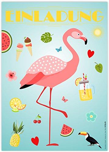 12 Einladungskarten Flamingo Einladungen Kindergeburtstag Geburtstag Party Poolparty Schwimmbad Gartenparty Cocktailparty Beachparty Hawaii Sommer Gartenfest Trend Art Deco Stil Karten Set