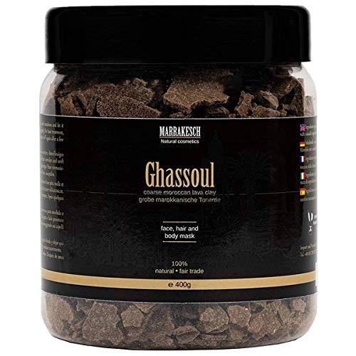 Ghassoul marokkanische original Wascherde Tonerde Lavaerde Lava Clay für Haar Shampoo Körperpflege Gesichtsmaske Peeling Sauna Naturkosmetik vegan, ohne Tenside   grob 400g