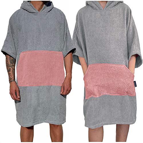 Homelevel Damen und Herren Surfponcho 100% Baumwolle Strandponcho Poncho Badeponcho Strandtuch Handtuch Cape Frottee Badetuch mit Kapuze Hellgrau/Altrose S/M