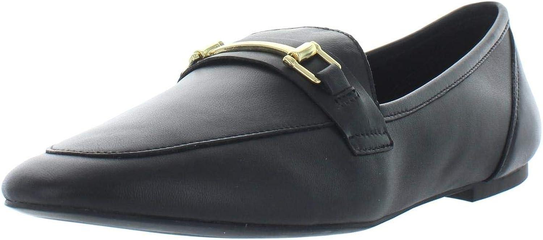Inc Womens Oleena Metallic Leather Loafers Black 9.5 Medium (B,M)