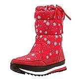 Shenji Zapatos de Mujer de Invierno - Botas de Nieve Media Pierna Antideslizante H20612 Rojo 40