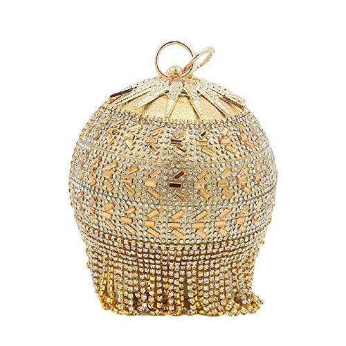 Glitzernde Kristall-Quaste für Damen| Abendtasche| rund| Hochzeit| Cocktail| Handtasche| Gold (Gold#1015)| Small | Taschen > Handtaschen > Abendtaschen | Boutique De FGG