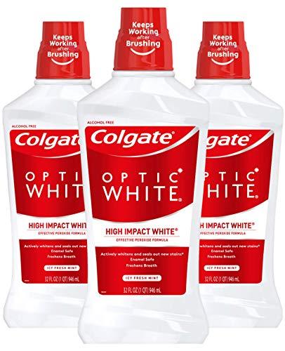 Colgate Optic White Whitening Mouthwash, 2% Hydrogen Peroxide, Fresh Mint - 946mL, 32 Fluid Ounce (3 Pack)