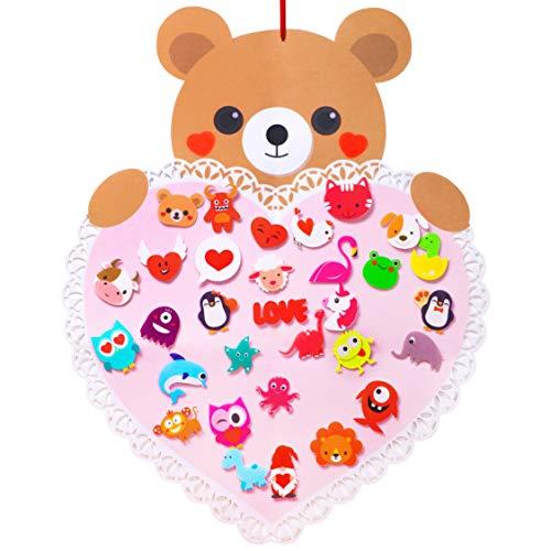 luck sea Filzbär für Kleinkinder/Kinder, zum Basteln, zum Basteln, zum Aufhängen, mit 31 Ornamenten, Partyzubehör, Geschenke