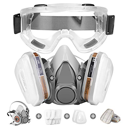 Respirator MaskHalf Facepiece Gas Mask with Safety Glasses Reusable Professional Breathing Protection Against DustChemicalsPesticide and Organic Vapors Perfect for Painters and DIY Project